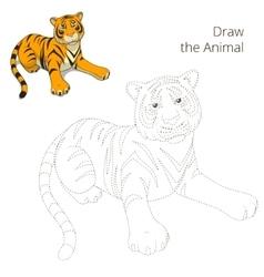 Draw animal bull educational game vector