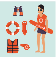 Female life guard standing watching situation on vector