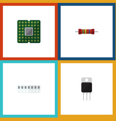 Flat icon device set of unit memory resistance vector