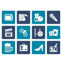Flat leisure activity and objects icons vector