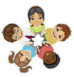 Group of multiracial kids in a circle looking up vector