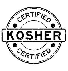 Grunge black kosher certified word round rubber vector