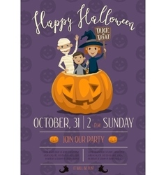 Halloween party poster with kids vector