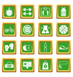 Healthy life icons set green vector