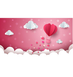 Heart cloud air ballon vector