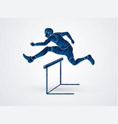 Hurdler hurdling sport running graphic vector