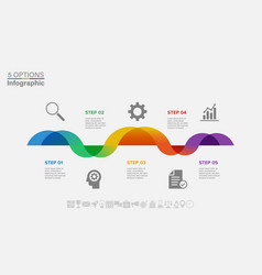 infographic wave design with icons and 5 options vector image