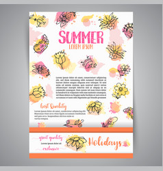 Isolated creative background card with flowers vector