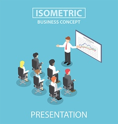 Isometric businessman giving a presentation in a c vector