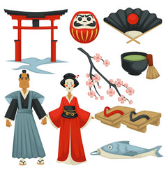 Japan traveling culture symbols cuisine clothing vector