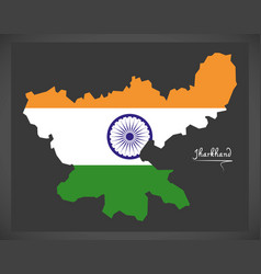 Jharkhand map with indian national flag vector