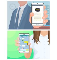 kakaotalk korean messenger people with phones vector image