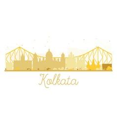 Kolkata City skyline golden silhouette vector