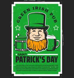 leprechaun hat and green beer st patricks day vector image