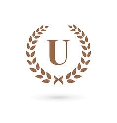 Letter T laurel wreath logo icon design template vector