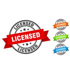 licensed stamp round band sign set label vector image