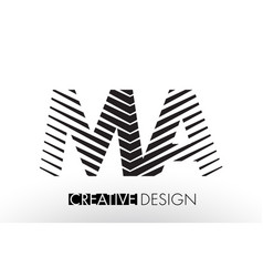 ma m a lines letter design with creative elegant vector image