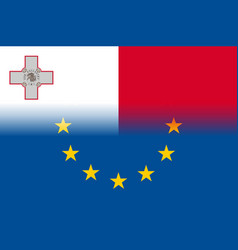 Malta national flag with a star circle of eu vector