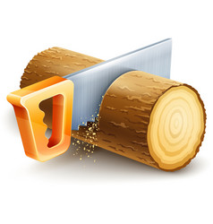 Manual saw cutting wooden vector