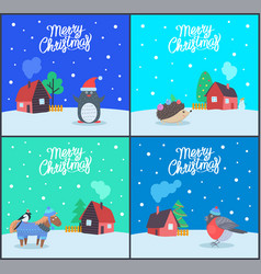 merry christmas greeting cards with text vector image