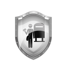 Metallic shield of postman with mailbox vector