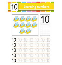 Number 10 trace and write handwriting practice vector