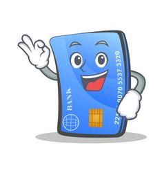 Okay credit card character cartoon vector