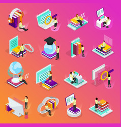 online learning isometric icons set vector image