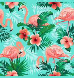pink flamingos exotic birds tropical palm leaves vector image