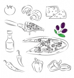 Pizza design elements vector image