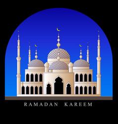Ramadan kareem mosque in the arch against the sky vector