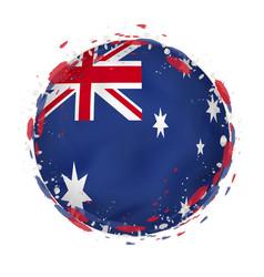 Round grunge flag australia with splashes in vector