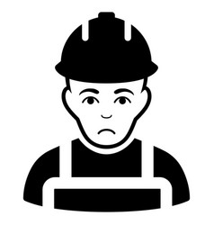 Sad builder black icon vector