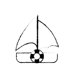 sailboat recreation travel sketch vector image