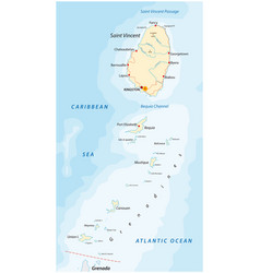Saint vincent and grenadines map vector