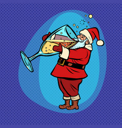 santa claus drinks champagne comic cartoon pop vector image