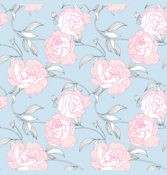 Seamless pattern hand drawn pink peony flowers vector