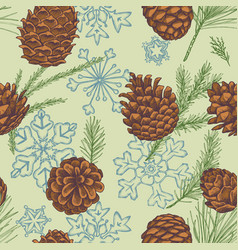 seamless pattern with colored snowflakes cones vector image