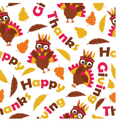 Seamless pattern with cute turkeys and maple vector