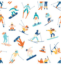 seamless pattern with skiing and snowboarding vector image