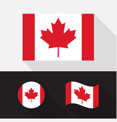 set canada flag flat design vector image