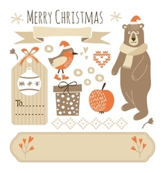 Set of cute christmas graphic elements vector image