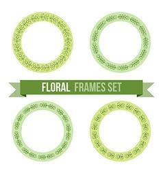 Set of design elements - round floral frames vector image