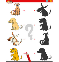 Shadow game with dogs animal characters vector