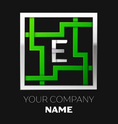 silver letter e logo symbol in the square maze vector image