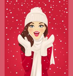 surprised woman in snowfall vector image