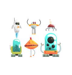 unusual robots in style aliens vector image