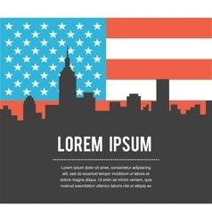 USA Colour Flag New York City Skyline vector image