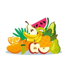 Variety fruits together fruit mix vector