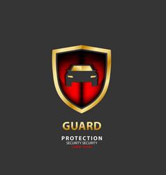 vehicle icon luxury shield auto car gold guard vector image